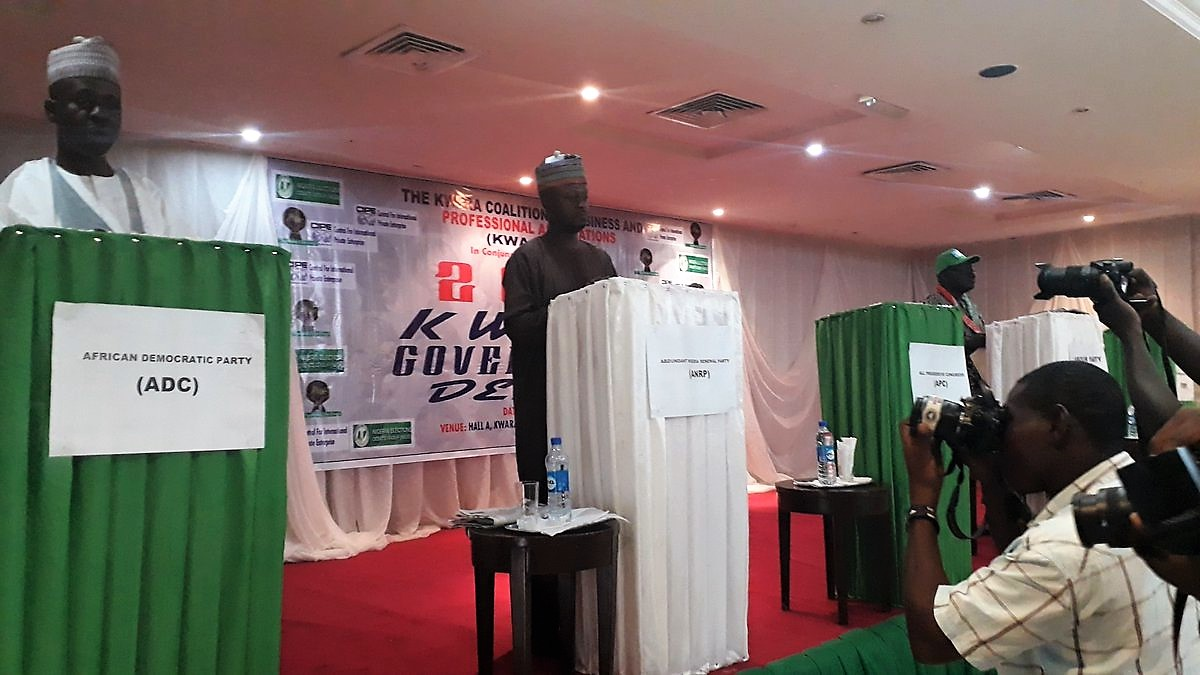 60d522d8 Candidates debate each other at the Kwara State gubernatorial election  debate, organized by CIPE's partner the Kwara Coalition of Business and  Professional ...